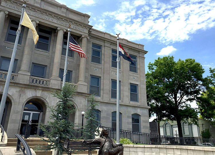 The Franklin County Court House and statue of Benjamin Franklin himself!